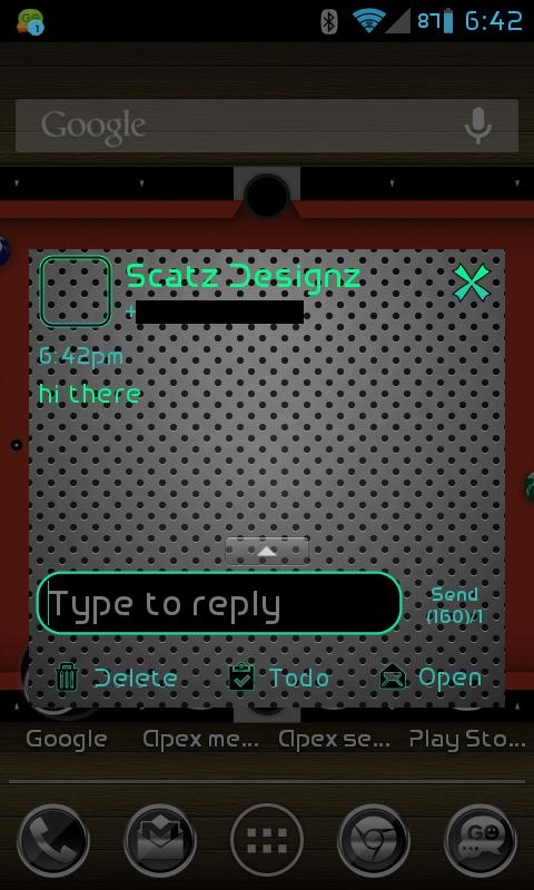 GO SMS PRO AIRED LEATHER THEME - screenshot