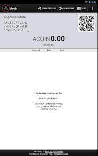 Acoin Wallet screenshot