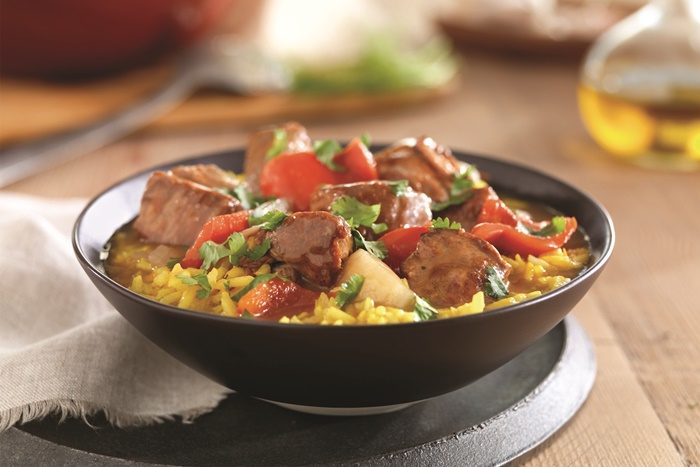 Spanish Pork Stew with Saffron Rice Recipe