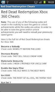 red dead redemption cheat codes xbox 360