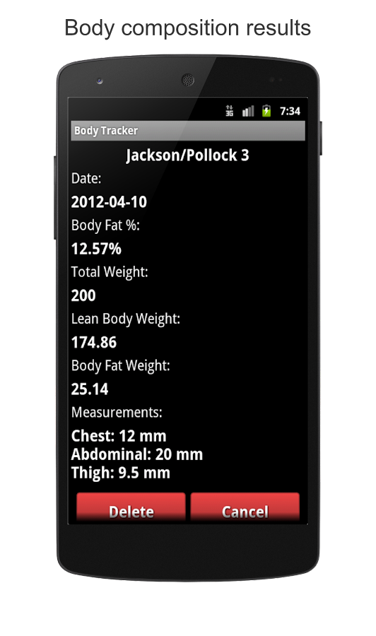 Body Fat Calculator, BMI, BMR - screenshot
