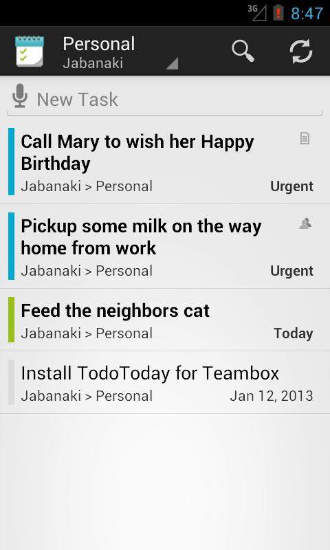 TodoToday for Teambox - screenshot