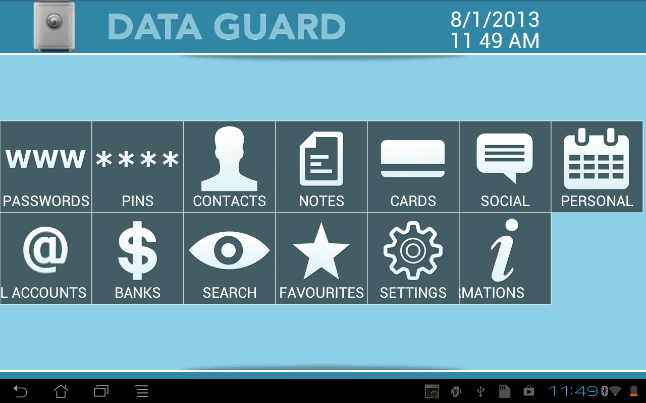Data + Guard: password manager - screenshot