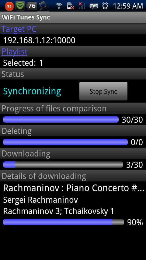 WiFi Tunes Sync - screenshot