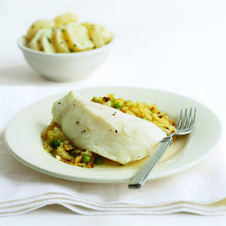 Poached Cod with Cabbage and Peas.