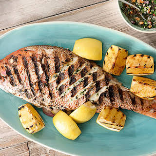 Grilled Red Snapper with Smoked Almond-Herb-Garden Chimichurri.