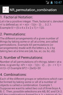 NR Permutations & Combinations - screenshot thumbnail