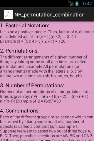 NR Permutations & Combinations - screenshot
