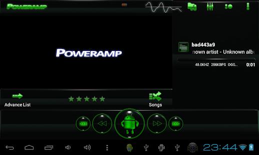 poweramp skin android green