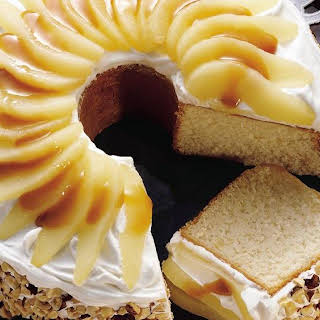 Delicate Pear Cake with Caramel Sauce.