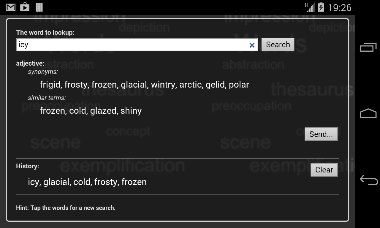 Thesaurus- screenshot