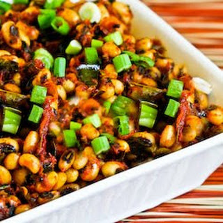 Indian Spiced Black-Eyed Peas with Tomato and Curry Leaves.