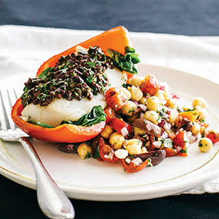 Mediterranean Baked Cod with Chickpea Salad.