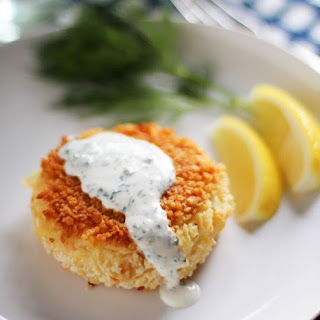 Smoked Salmon Potato Cakes with Herb Crème Fraîche.