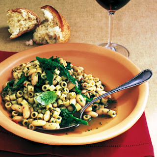 Ditalini with Pesto, Beans, and Broccoli Rabe.