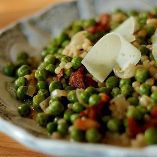 Israeli Couscous with Peas and Bacon.