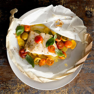 Fish Fillets with Tomatoes, Squash, and Basil