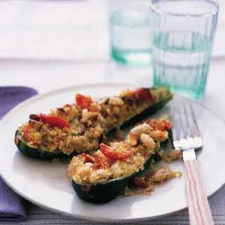 Zucchini With Quinoa Stuffing.