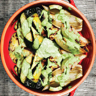 Grilled Summer Vegetables with Green Goddess Dressing