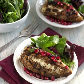Goat Cheese Stuffed Pomegranate Chicken with Balsamic Reduction {High Protein + GF}.