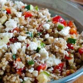 Lentils with Brown Rice and Feta.