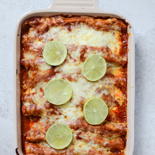 Spicy Beer Braised Lime Chicken Enchiladas