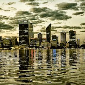 Black/Gold Perth by Nicola Scarselli - City,  Street & Park  Skylines