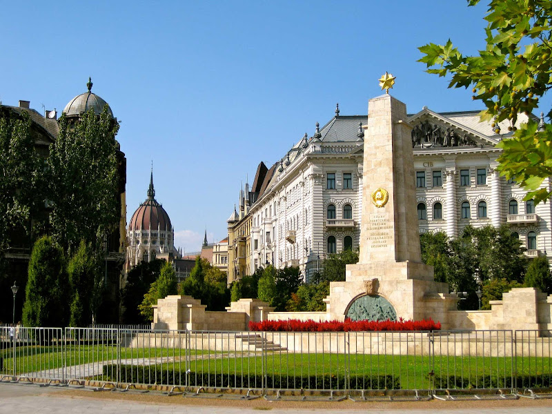 Szabadsag Square in Budapest, Hungary.