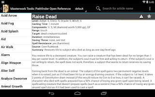 Screenshot of Pathfinder Open Reference