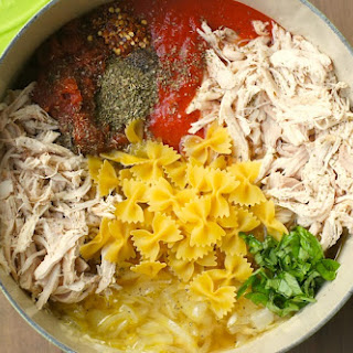 One-Pot Tomato, Basil + Chicken Pasta.