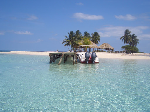 Goff's Caye, a small island off the shore of Belize City, Belize.