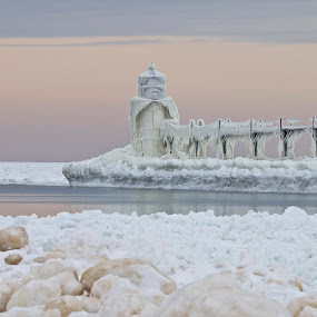 Magical Winter by Kimberly Davidson - Landscapes Waterscapes ( michigan, winter, waterscape, ice and snow, lighthouse, st. joseph lighthouse,  )