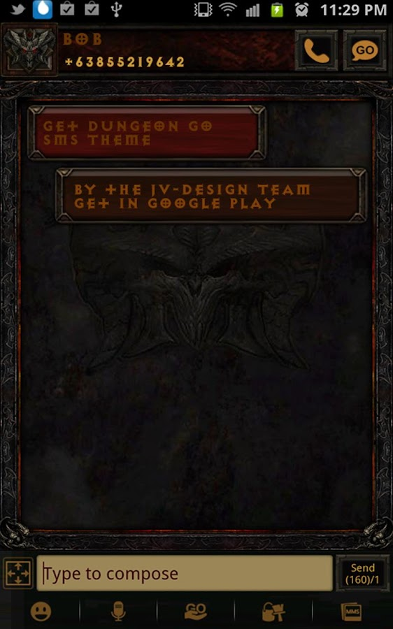 Diablo Dungeon Go SMS Theme - screenshot