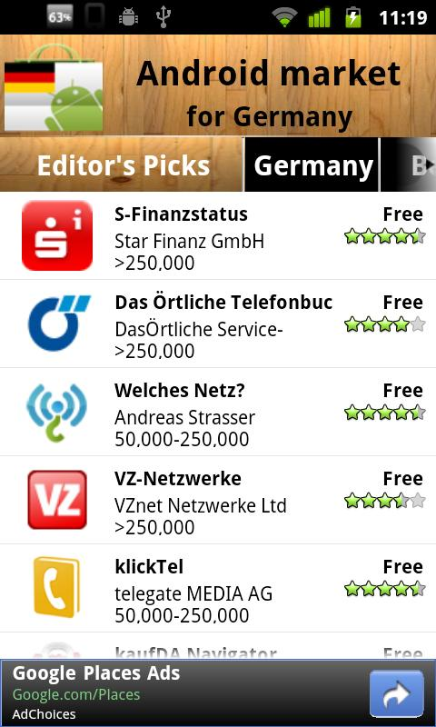 Germany Android Market - screenshot