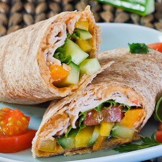 Turkey, Hummus and Veggie Wrap.