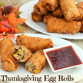 Thanksgiving Egg Rolls with Cranberry Sauce Dipping Sauce.
