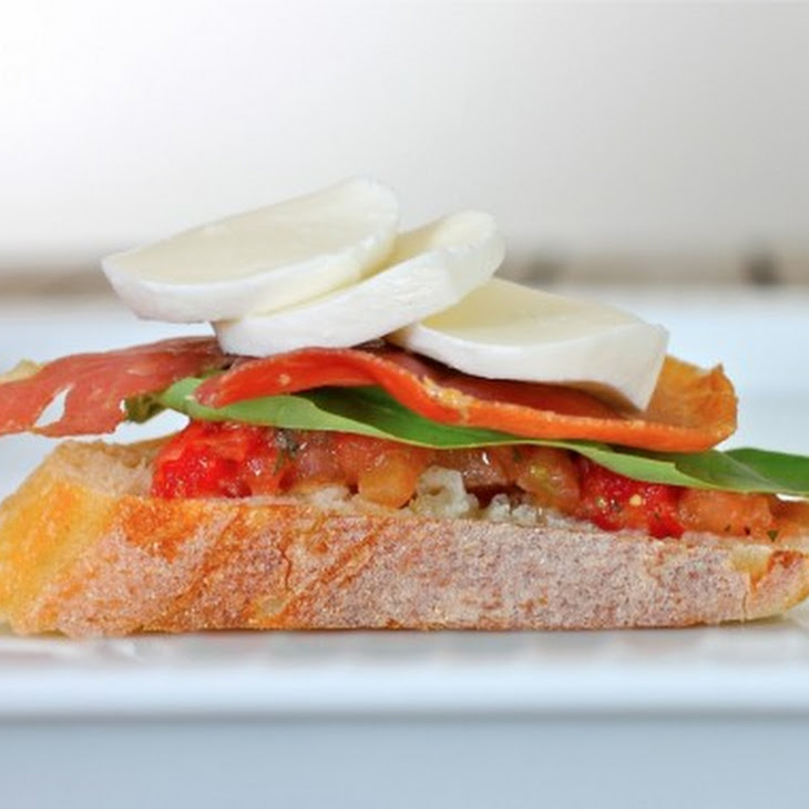 Bruschetta, Bocconcini, Basil and Prosciutto Appetizer Recipe