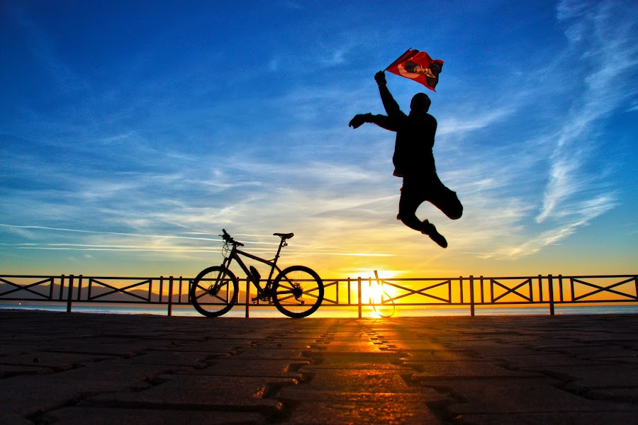 Jump by Selim Vardım - People Street & Candids ( flag, silhouette, sport, sunrise, jump )