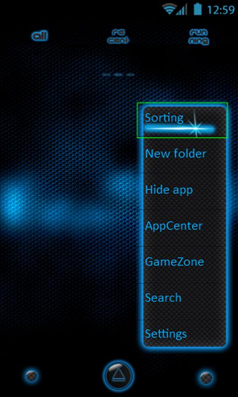 Go Launcher EX Dark Blue Theme - screenshot
