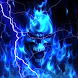 Glowing Blue Lightning Skull