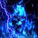 Glowing Blue Lightning Skull