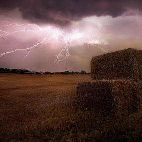 Thunderous Lightning in the Fields by Awais Khalid - Landscapes Weather ( clouds, thunderous, lightning, nature, weather, bolts, fields )