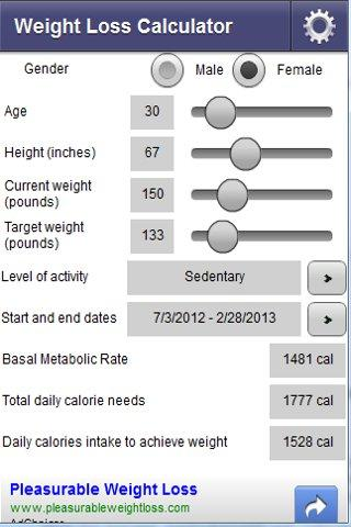 Weight Loss Calculator by Goal Date