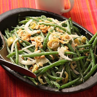 Green Bean Salad with Pickled Peppers and Anchovy Dressing.