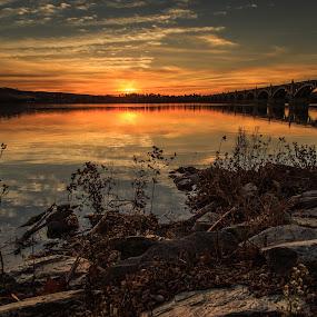 Last Light over Susquehanna River by Troy Snider - Landscapes Waterscapes ( water, river shoreline, sunset, dusk, light, river )