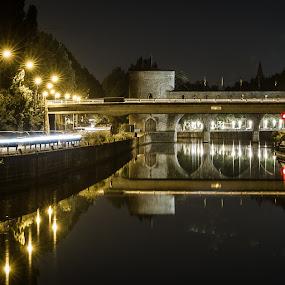 Pont des trous by Arti Fakts - Buildings & Architecture Bridges & Suspended Structures ( mirror, water, lights, barge, long time pose, night, bridge, reflexion, boat, escaut, river,  )