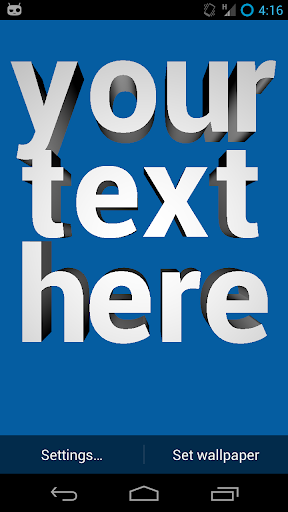 3D Text Live Wallpaper