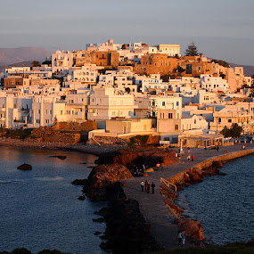 Naxos island, Greece by Name of Rose - City,  Street & Park  Vistas ( houses, sunset, greece, naxos, light, island )