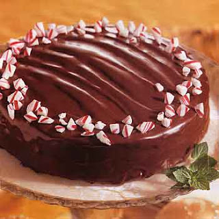 Triple-Chocolate Cake with Chocolate-Peppermint Filling.