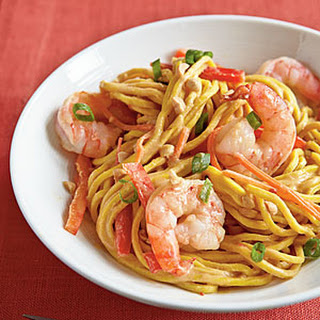 Cold Peanut Noodles with Shrimp.